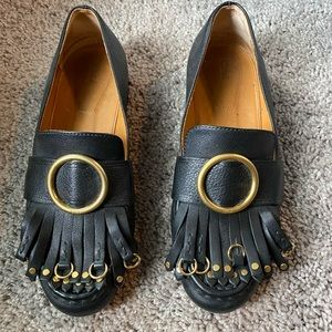 Chloe Olly fringed textured-leather loafers